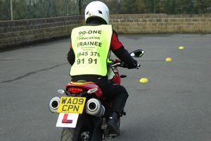 Refresher course slow control on a larger machine using a Ducati Monster 696 for motorcycle training